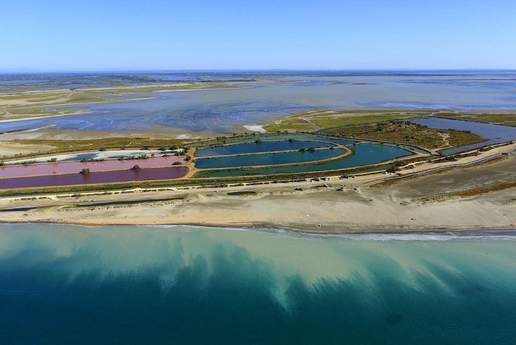 parc naturel regional de Camargue, Les Saintes Maries de la Mer, Baisse du Radeau, Bassin de Decantation, etang dit l'Imperial en arriere plan