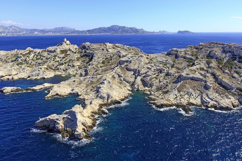 Parc national des Calanques, Marseille, 7e arrondissement, Archipel des iles du Frioul, ile Pomegues, Pointe de Carapegue