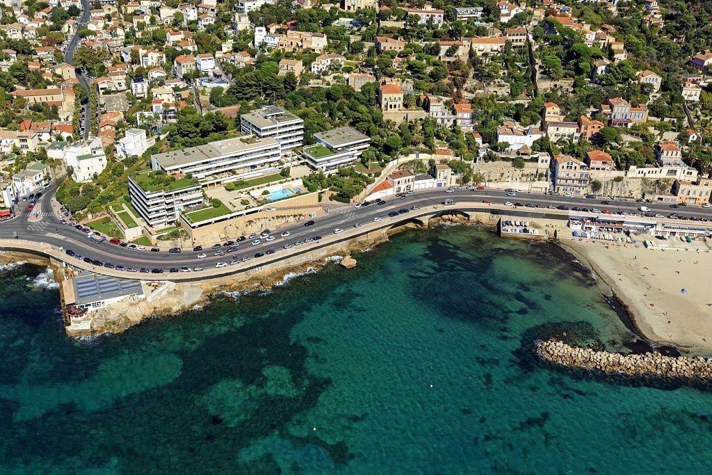 Marseille, 7e arrondissement, quartier Roucas Blanc, Rade d'Endoume, plage du Prophete, Corniche JF Kennedy