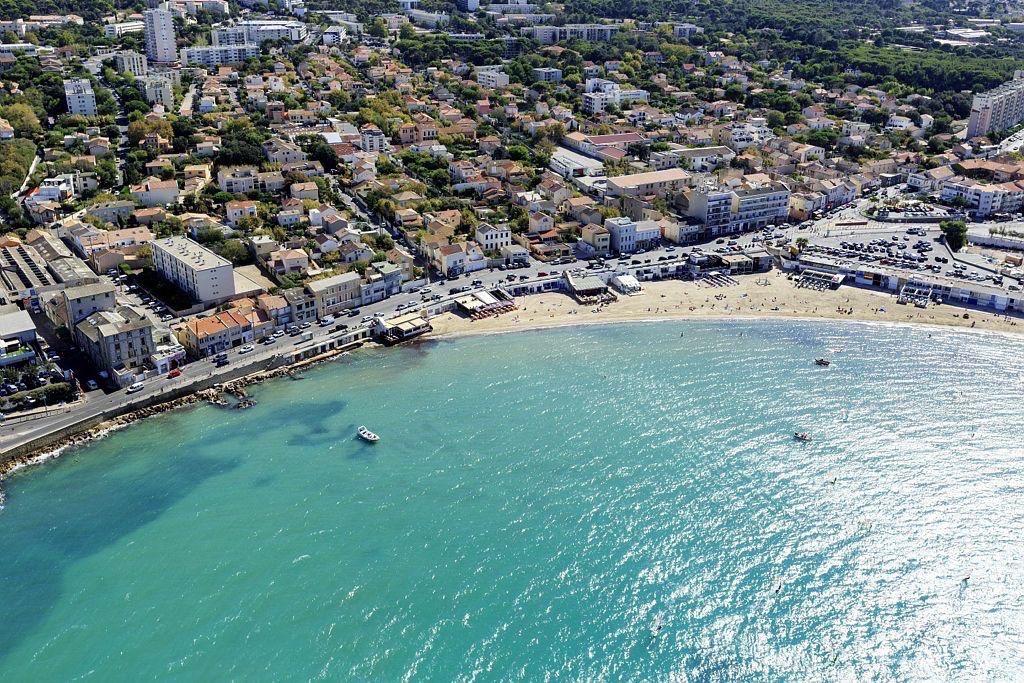Marseille, 8e arrondissement, quartier Pointe Rouge, Anse et plage de la Pointe Rouge
