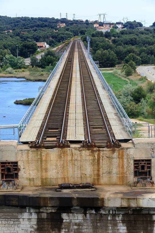 France, Bouches du Rhone (13), Martigues, chenal de Caronte, Pont Tournant