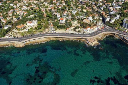 Marseille, 7e arrondissement, quartier du Roucas Blanc, Rade d'Endoume, Anse de l'Oriol, Corniche JF Kennedy