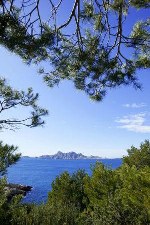 France, Bouches du Rhone (13), Parc national des Calanques, Marseille, 9e arrondissement, l'archipel de Riou, ile Riou depuis le sentier de Callelongue vers la calanque de Marseilleveyre