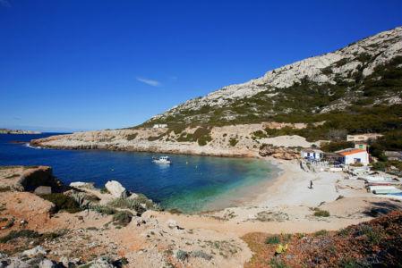 France, Bouches du Rhone (13), Parc national des Calanques, Marseille, 9e arrondissement, calanque de Marseilleveyre, plage