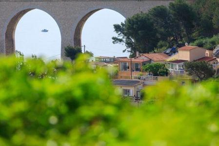 France, Bouches du Rhone (13), La Cote Bleue, Le Rove, Port de La Vesse, le pont de chemin de fer